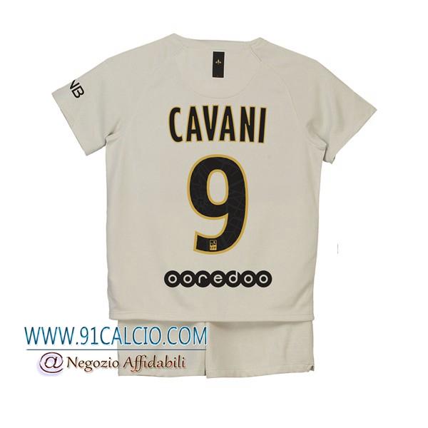 Maglia Calcio PSG 2018 19 CAVANI 9 Seconda Bambino Beige - 91calcio