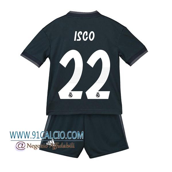 Maglia Calcio Real Madrid 2018/2019 22 ISCO Seconda Bambino Nero ...
