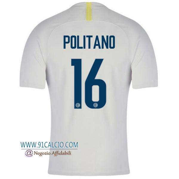 Maglia Calcio Inter Milan 2018 19 POLITANO 16 Terza Uomo Bianco ...
