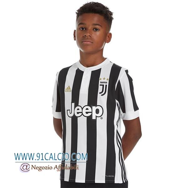 Maglia Calcio Juventus 2017 18 Prima Bambino Bianca/Nero - 91calcio
