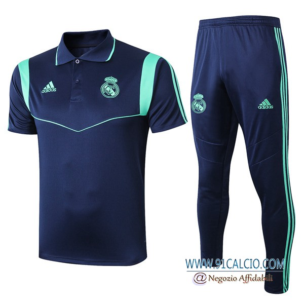 Kit Maglia Polo Real Madrid + Pantaloni Blu Scuro 2019 2020