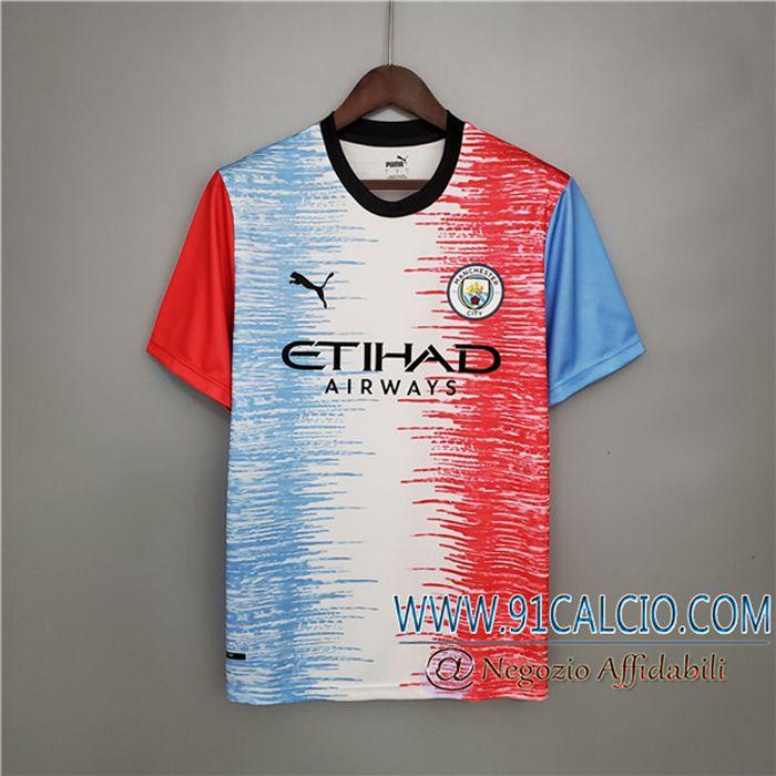 Le Nuove T Shirt Allenamento Manchester City Bianca/Blu/Rosa 2021/2022