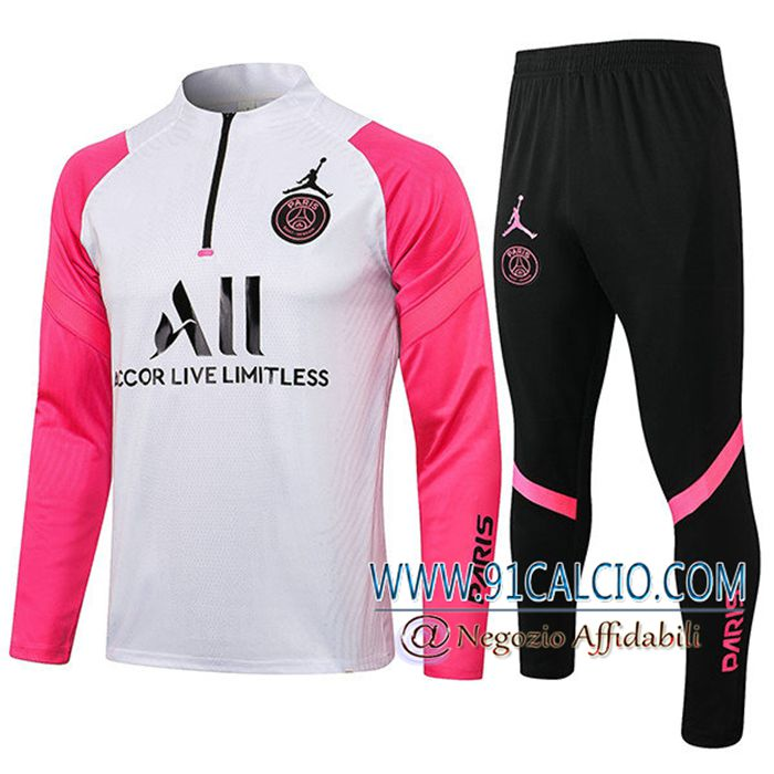 Outlet Insieme Tuta Calcio Jordan PSG Bianca/Rosa 2021/2022