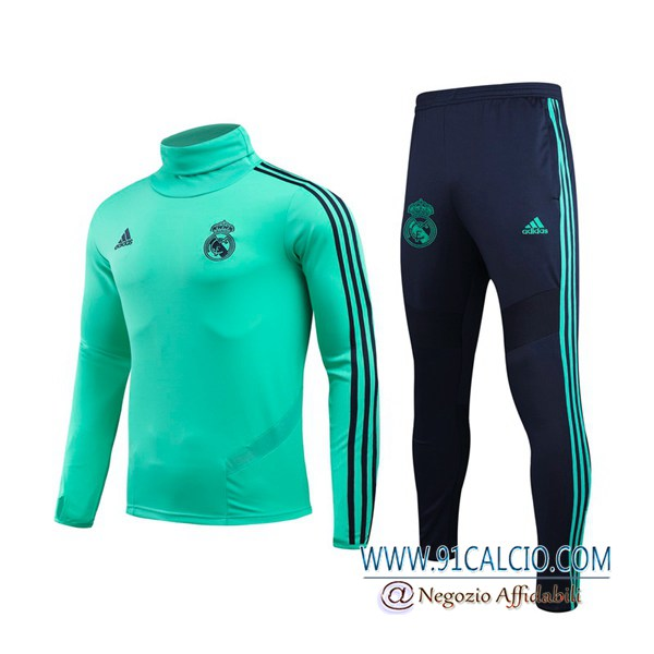 Tuta Calcio Real Madrid Verde Collo Alto 2019 2020 | Felpa + Pantaloni