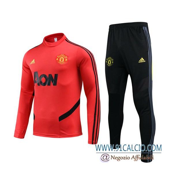Tuta Calcio Manchester United Rosso 2019 2020 | Felpa Pantaloni ...