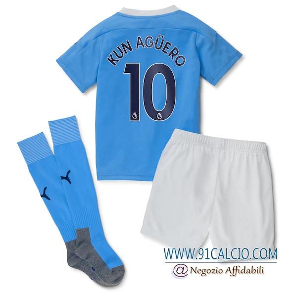 Maglia Calcio Manchester City (Aguero 10) Bambino Prima 2020 2021 ...