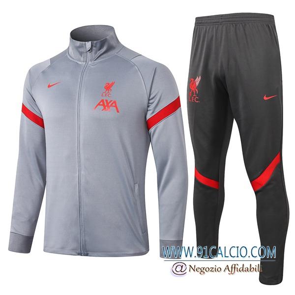Tuta Allenamento FC Liverpool Grigio 2020 2021 Giacca Pantaloni ...